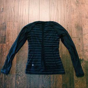 LULULEMON Black Striped Long Sleeve